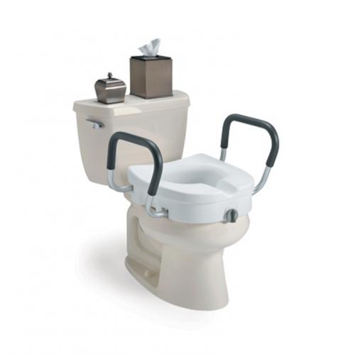 Siège de toilette surélevé avec bouton d'ajustement et bras | Invacare