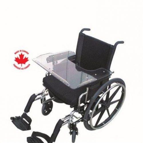 Tablette de fauteuil roulant en Lexan avec glissière