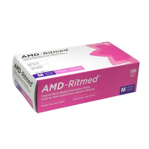 Gants nitrile Rose Moyen (20) | AMD-Ritmed
